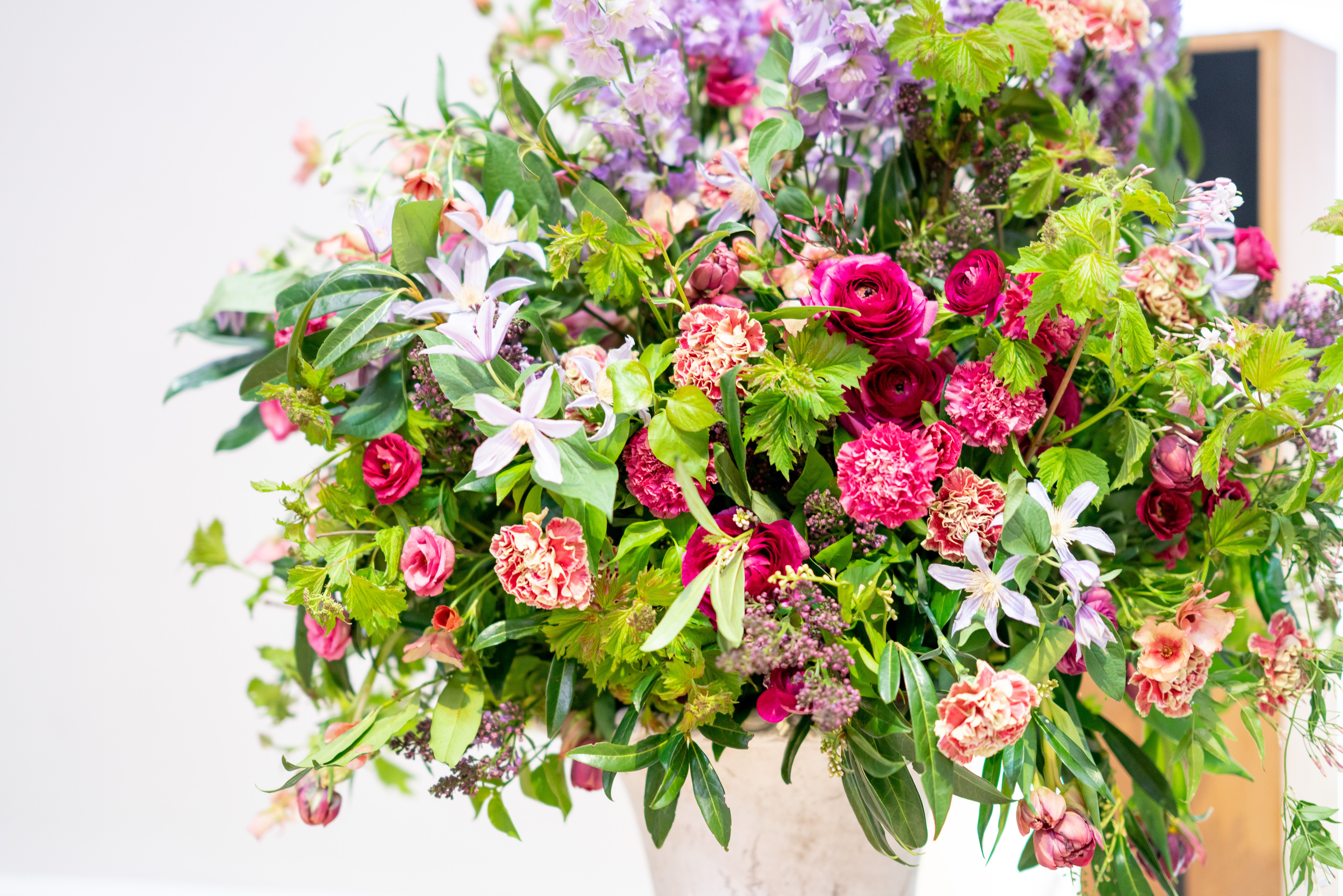 Close up of the grand floral centrepiece with summer flowers
