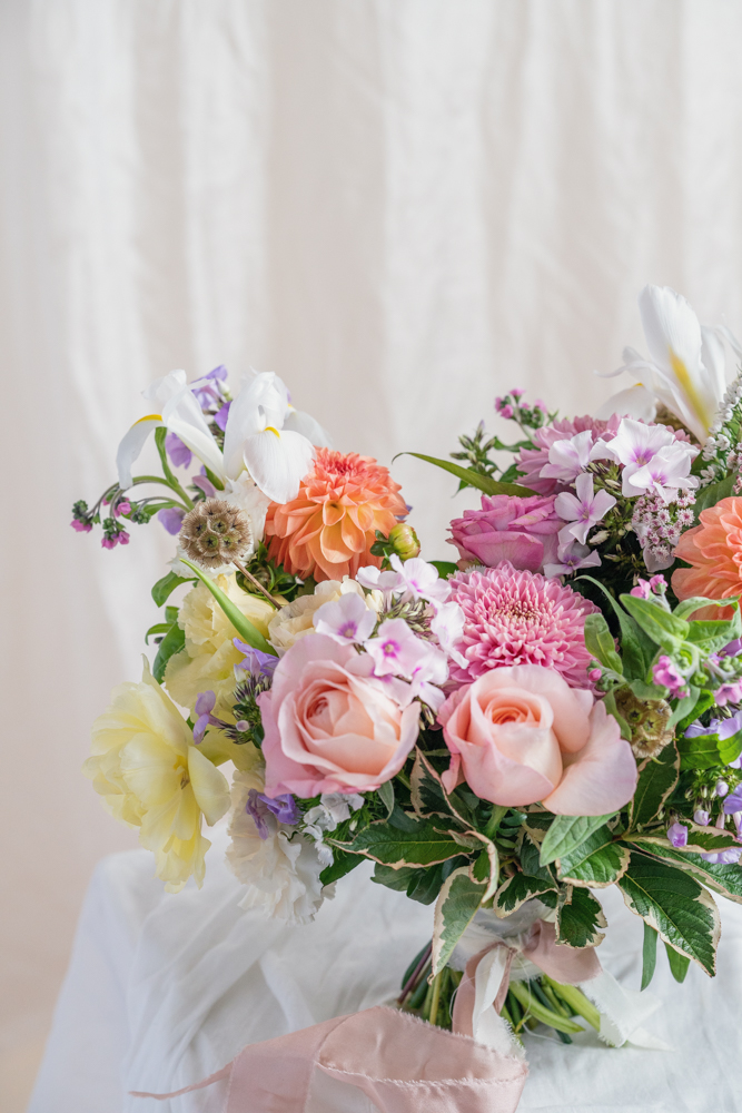 Wedding Bouquet with Garden Roses, Phlox, Irises, Scabiosas, Tulips and Veigelas