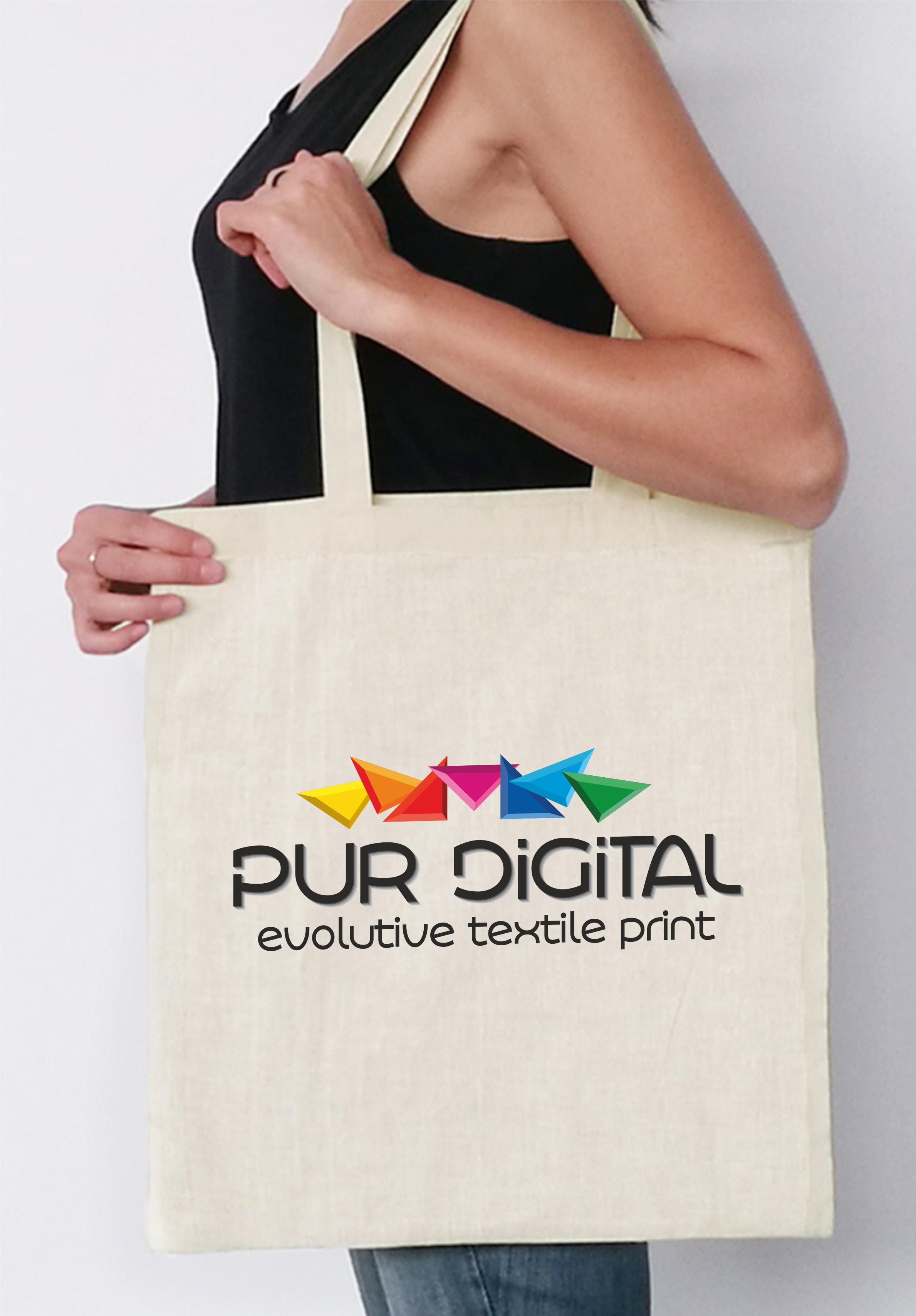 Sac shopping naturel avec impression digitale.