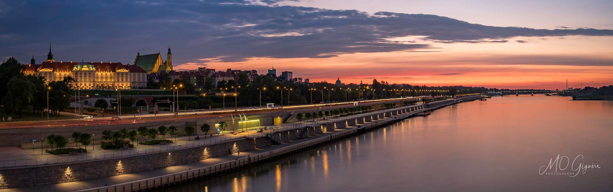 Sunset on the Vistula and the Old town of Warsaw