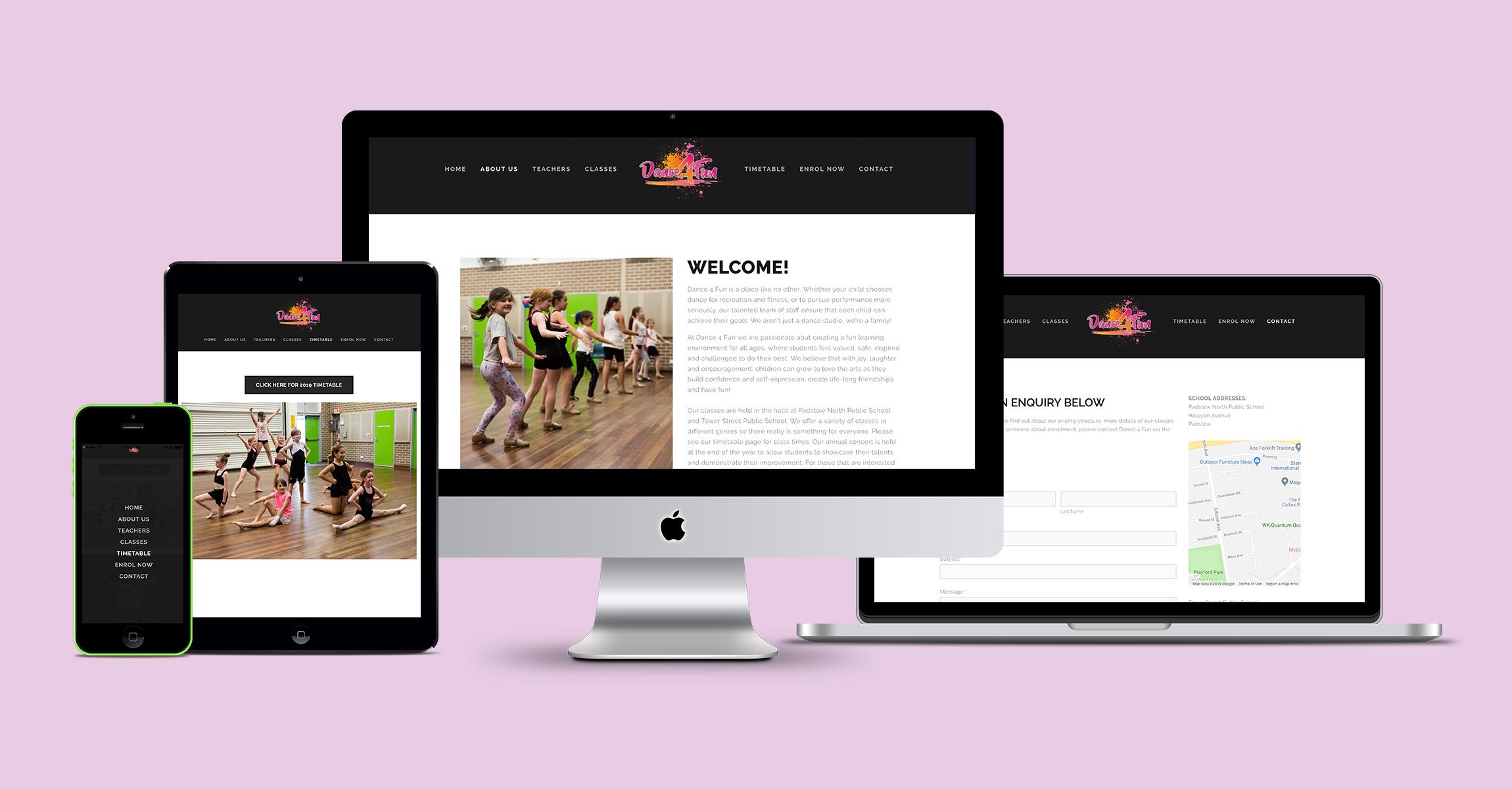 Dance 4 Fun, Sydney Website Design