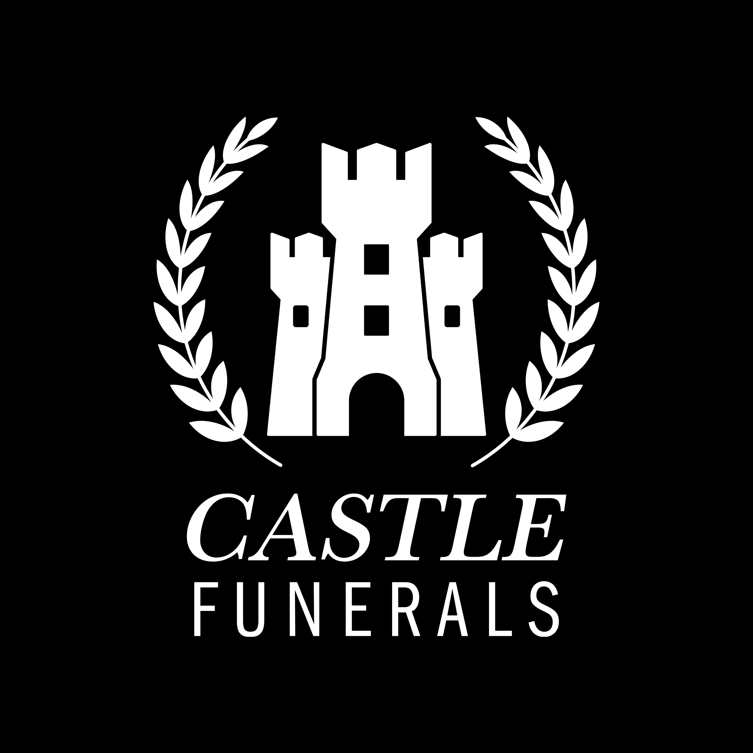 Logo Design castle funerals white