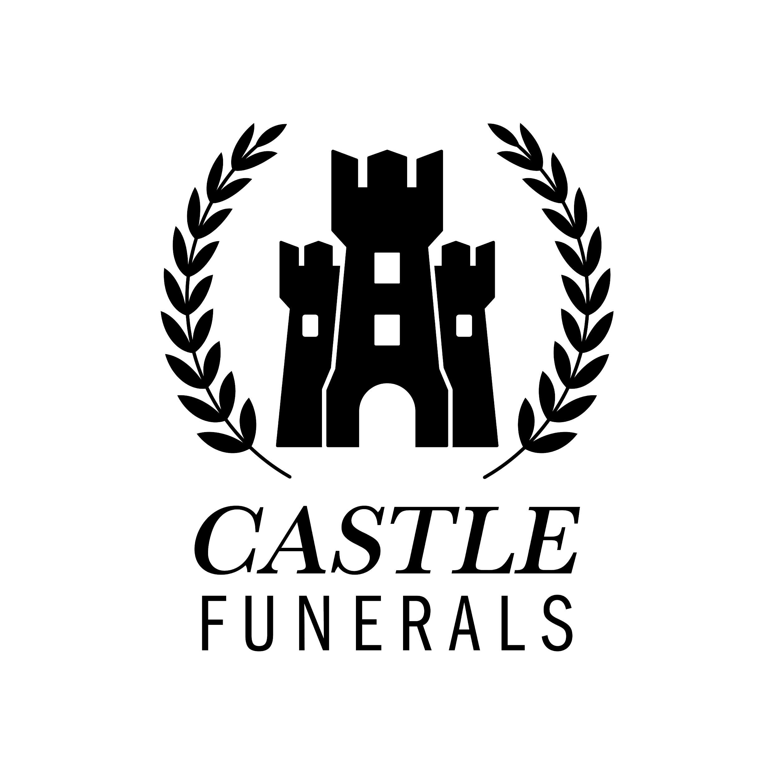 Logo Design castle funerals black