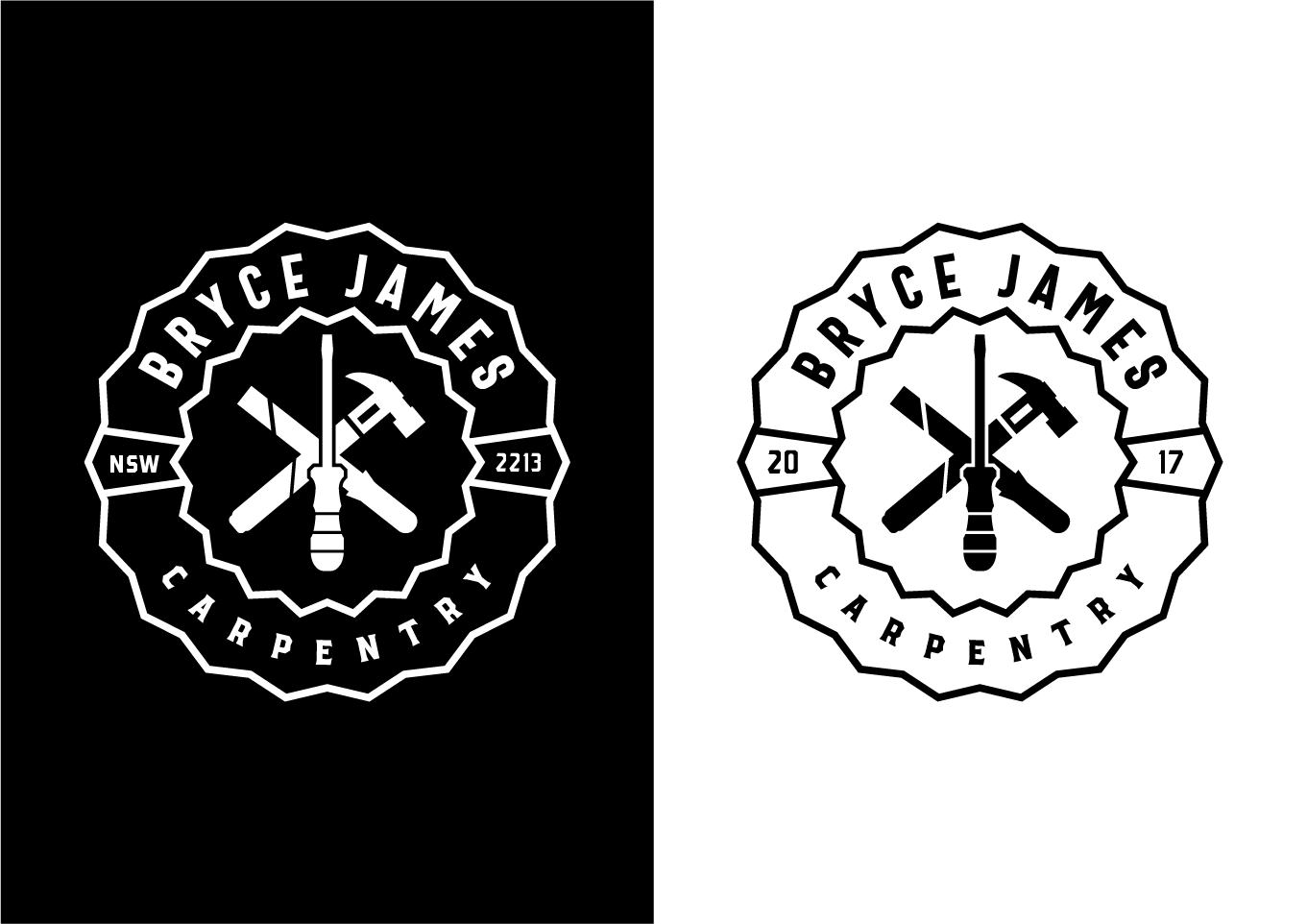Bryce James Carpentry logo Black and white