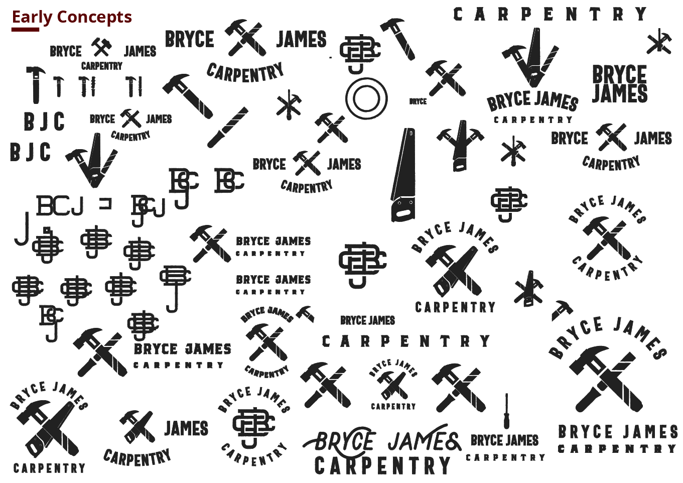 Bryce James Carpentry early logo options