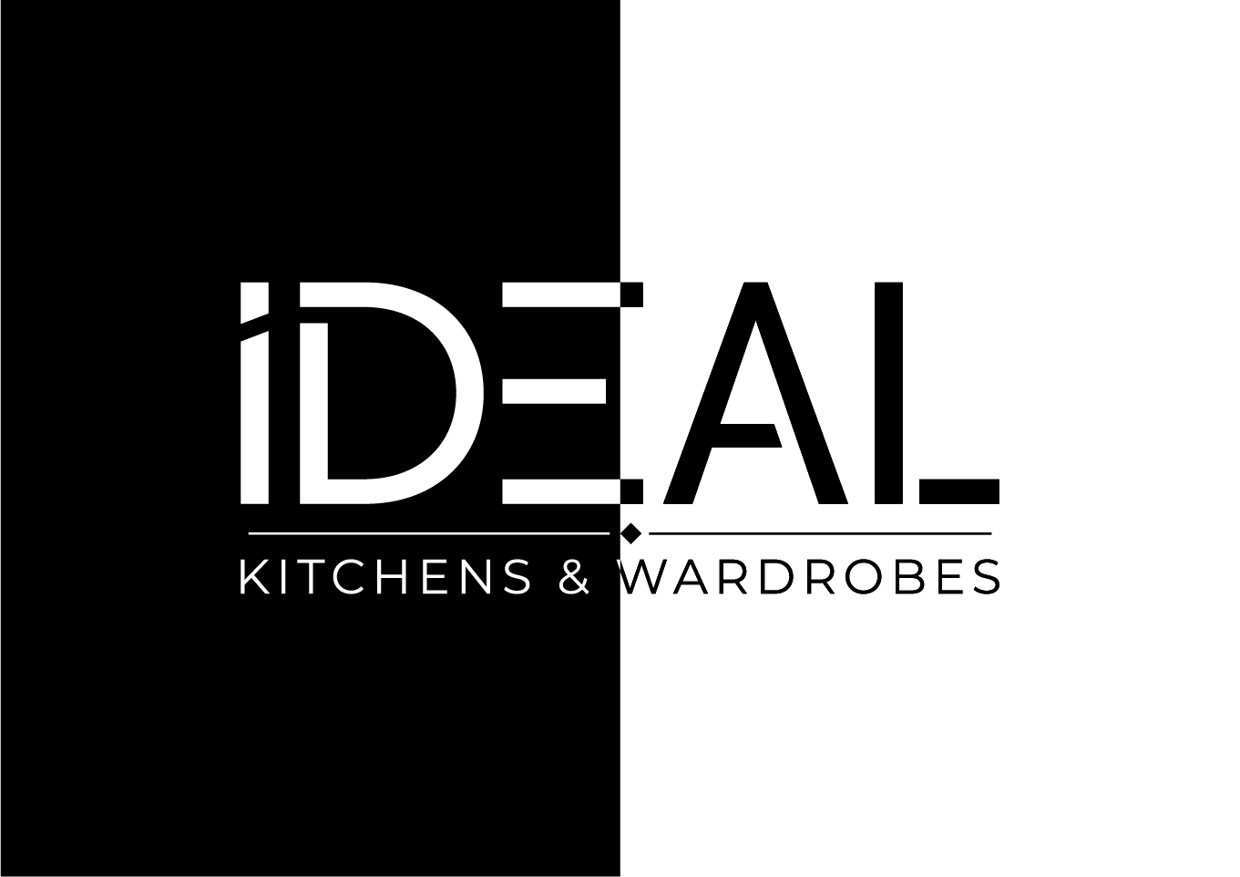 Black and white logo design for Ideal Kitchens & Wardrobes