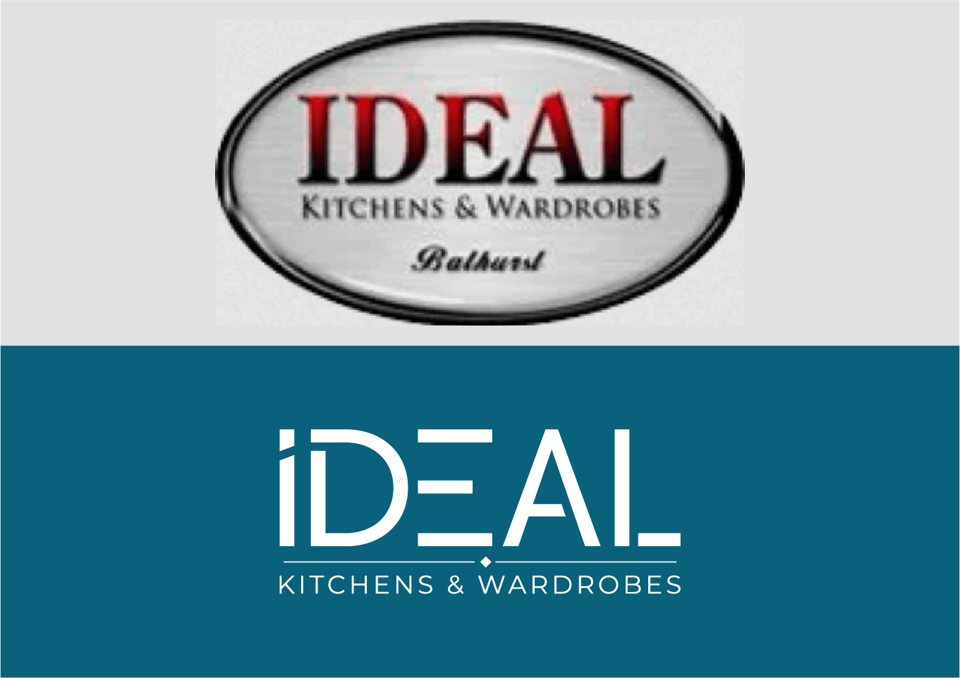 Before and after logo design for Ideal Kitchens