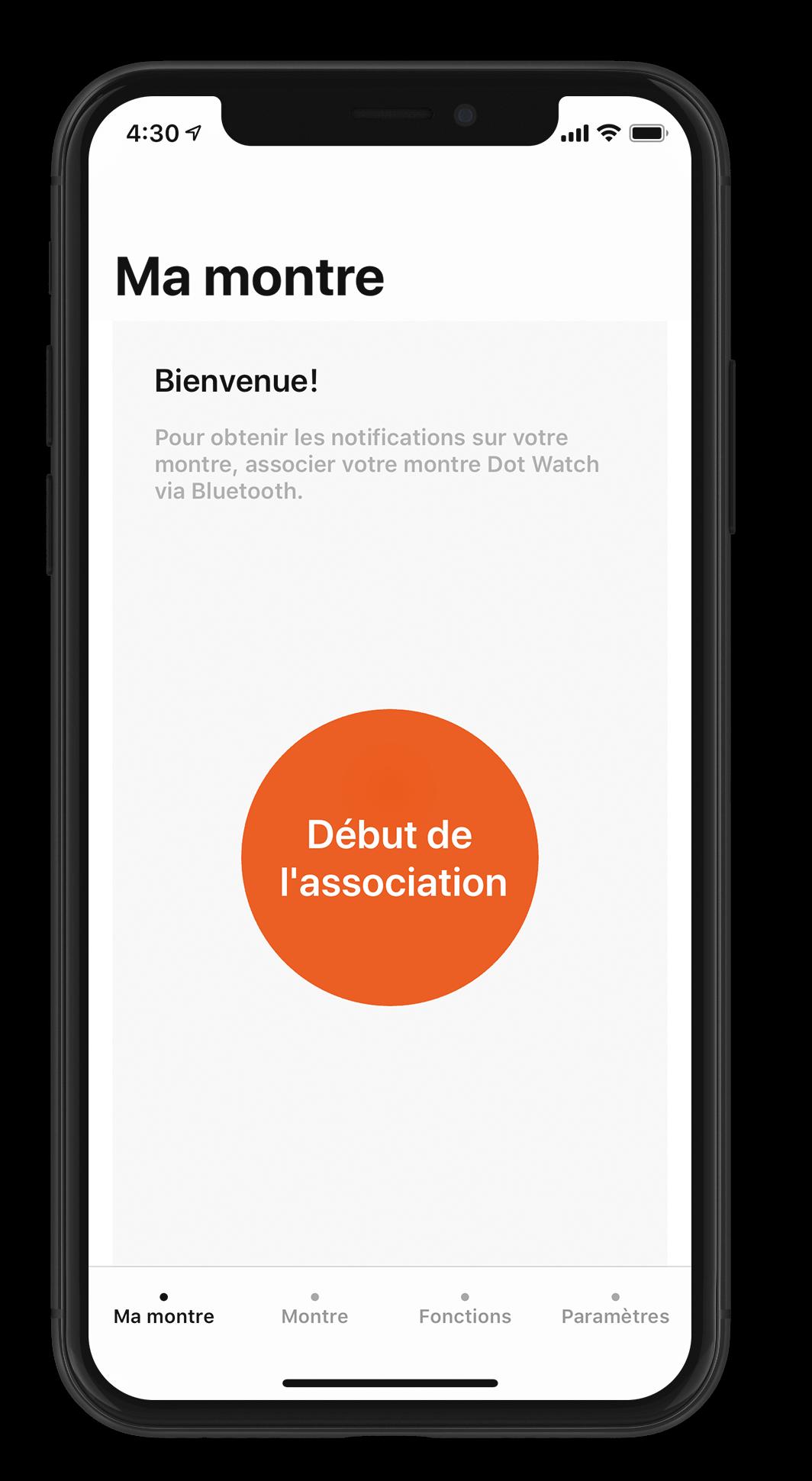 An iPhone X running the Dot Watch app