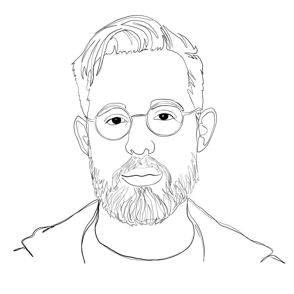 One-line digital illustration portrait: Ryan