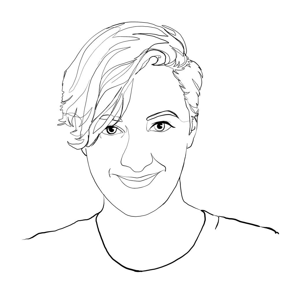 One-line digital illustration portrait: Maggie