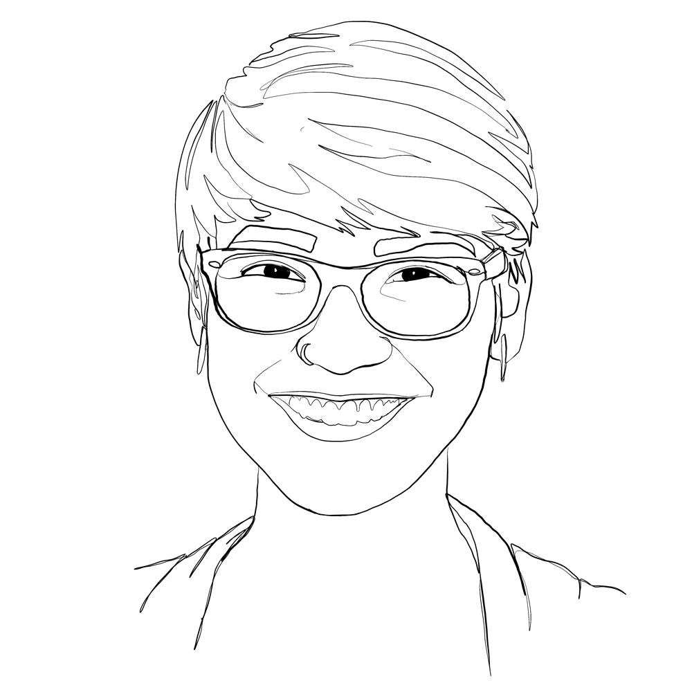 One-line digital illustration portrait: Joelle