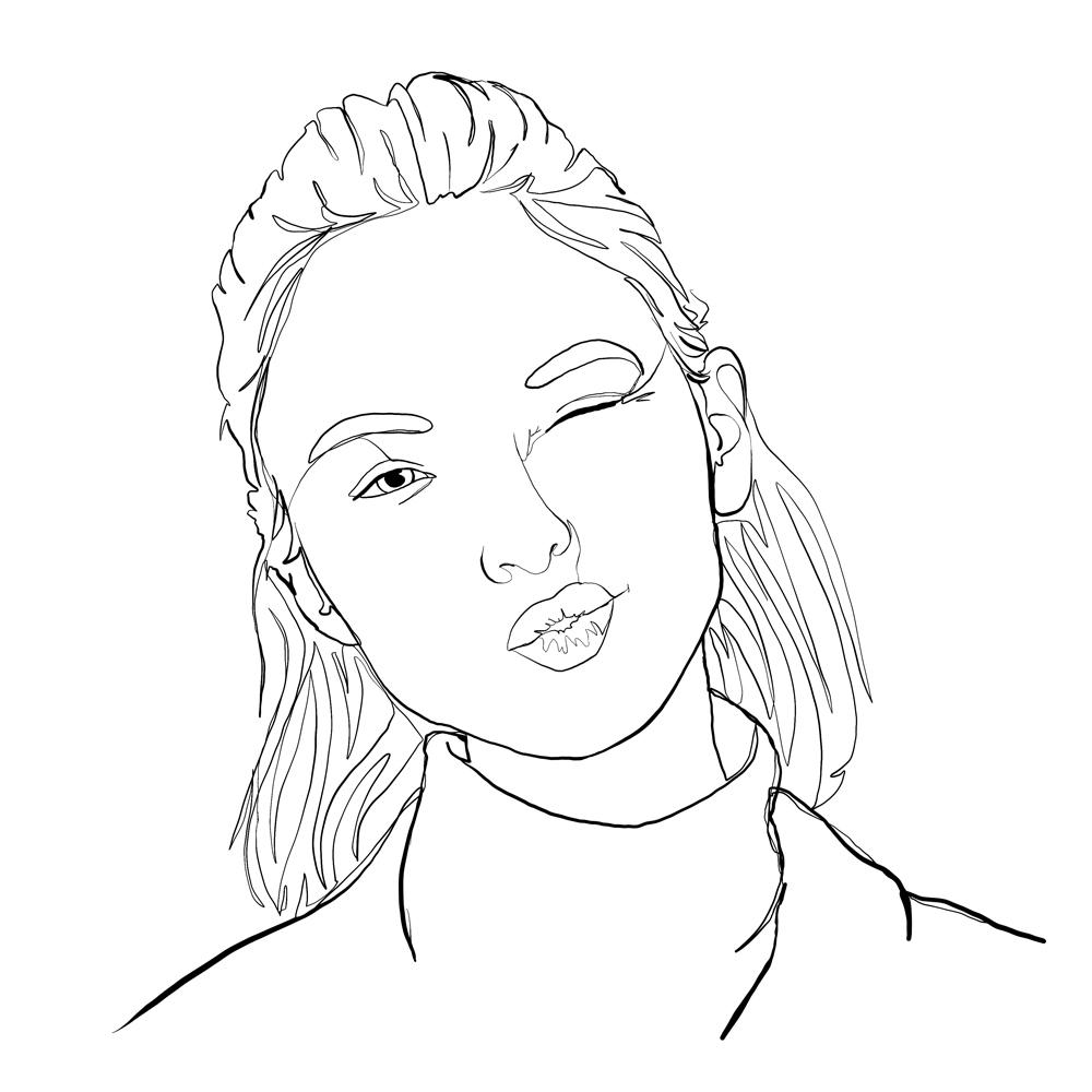 One-line digital illustration portrait: Sierra