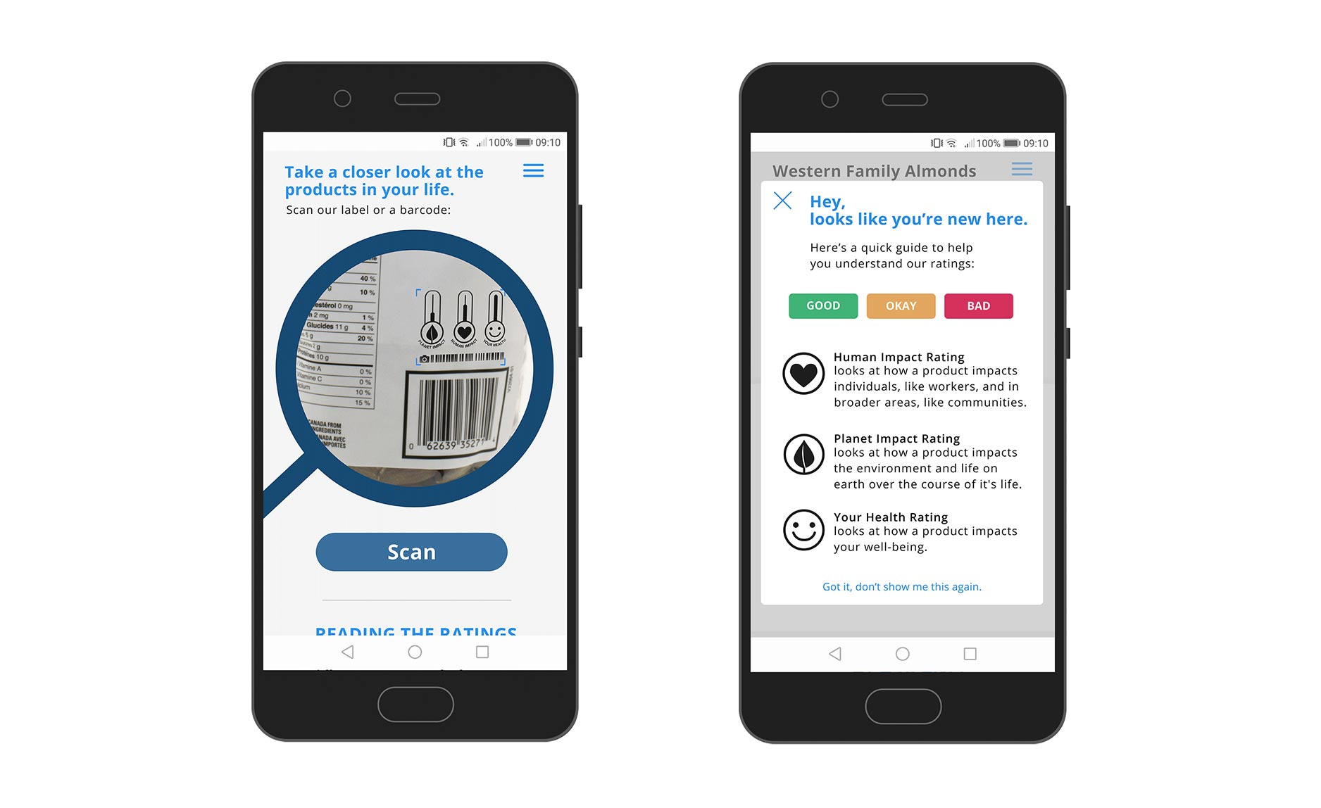 EcoFacts app screens: scan & first time pop-up