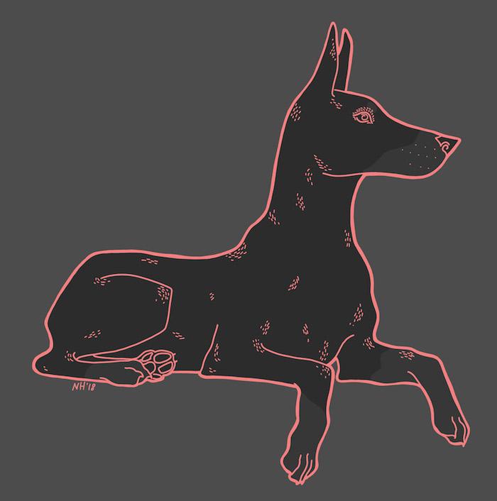 Digital drawing of a Doberman.