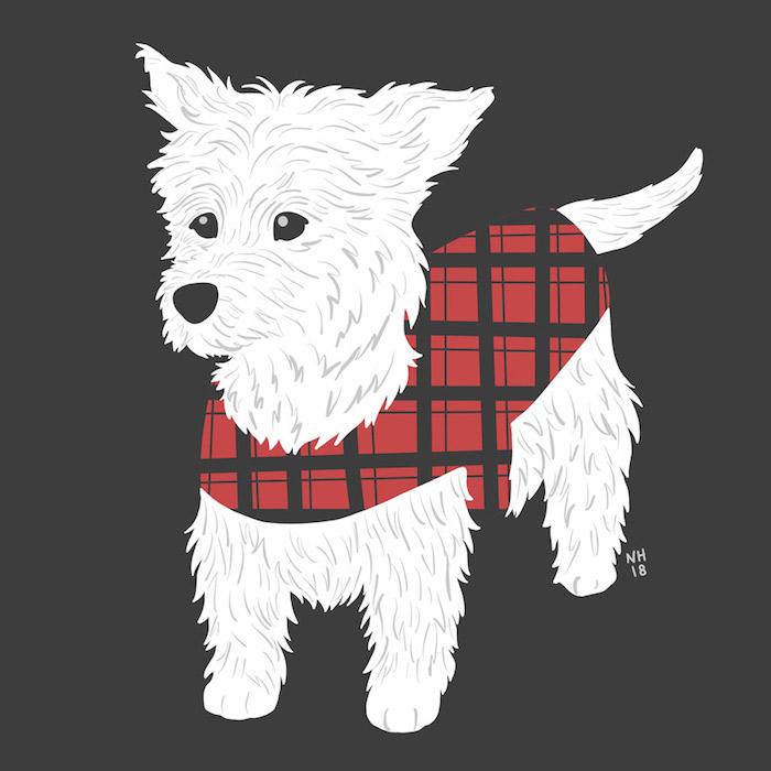 Digital drawing of a Westie Terrier in a tartan patterned coat.