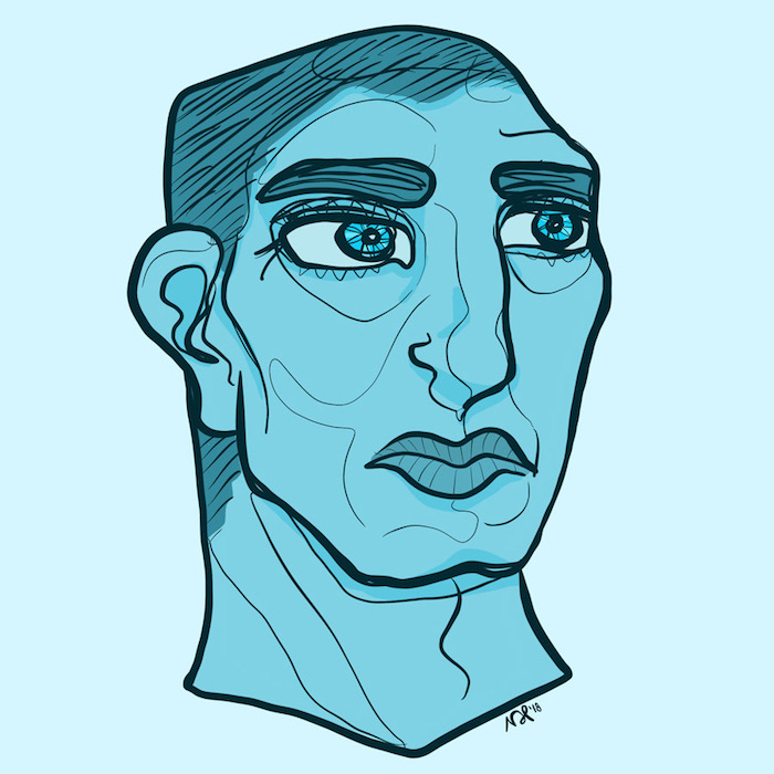Digitally drawn portrait of a man looking concerned.