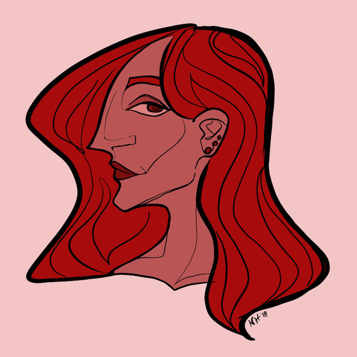 Digitally drawn portrait of a smiling woman, profile angle.