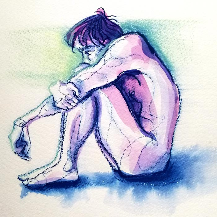 Watercolour and pastel drawing of a figure sitting with their arms wrapped around their knees.