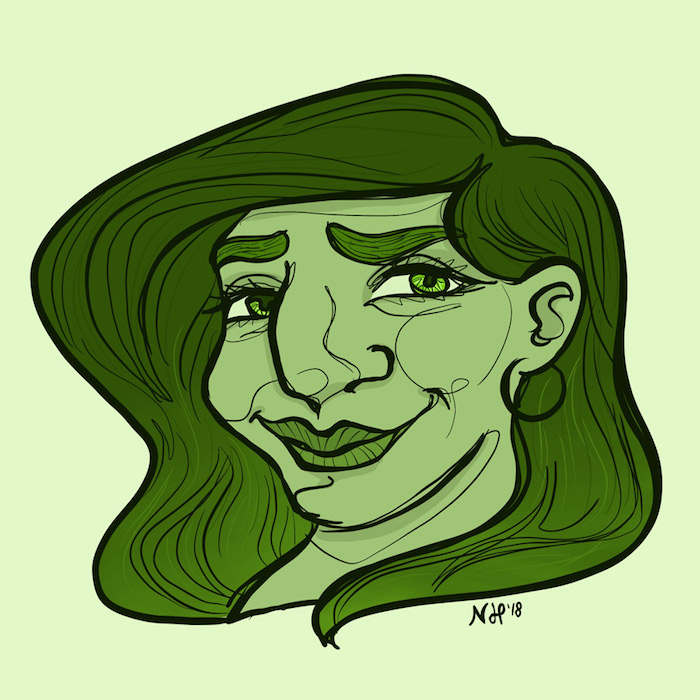 Digitally drawn portrait of a smiling woman.
