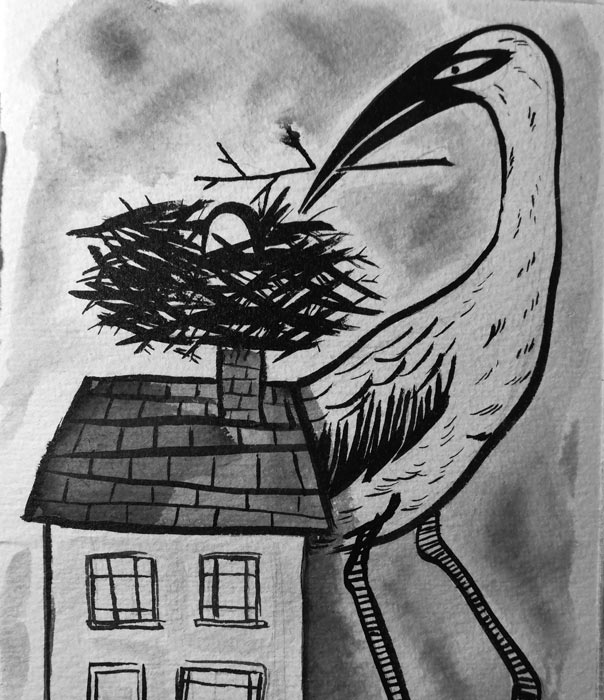 Ink drawing of a very tall building a text on the roof of a house.