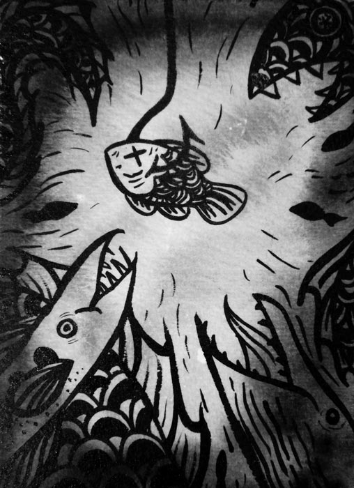 Ink drawing of a fish on a hook and other fish swimming around it.