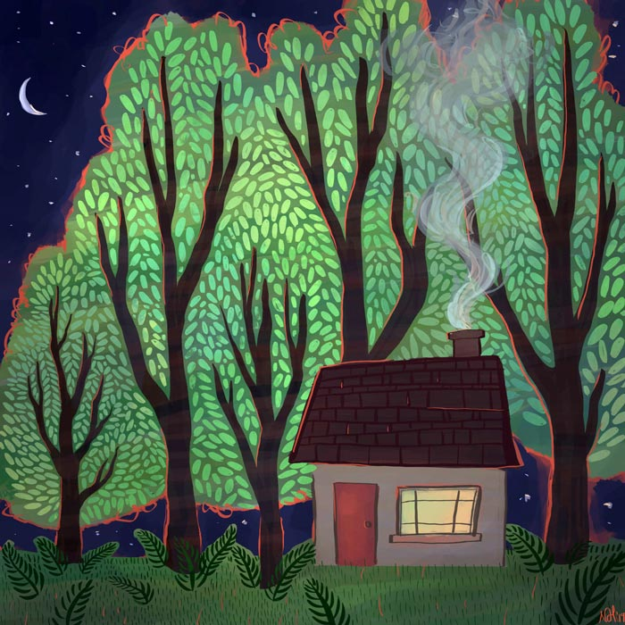 Digital drawing of a small cabin surrounded by bright green trees and a night sky.
