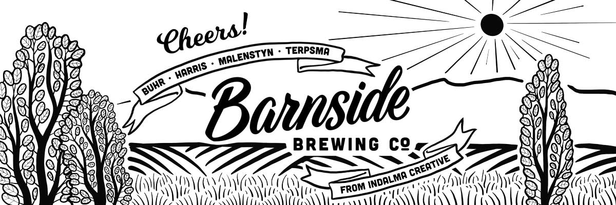 Image of the digital artwork that was engraved on the growlers for Barnside Brewing. The design is black and white.