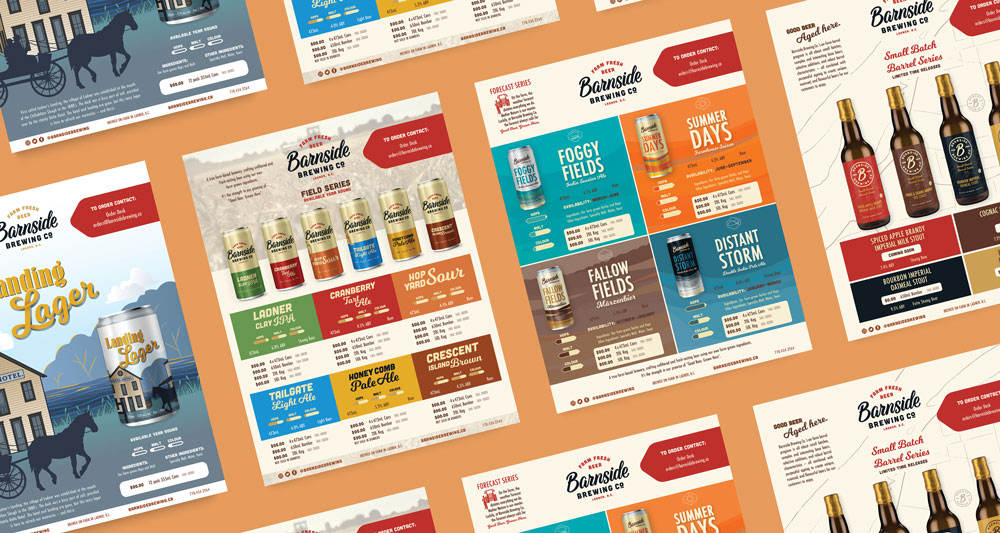 Image of different sell sheet designs for Barnside Brewing. The sheets are lying flat on an orange background.