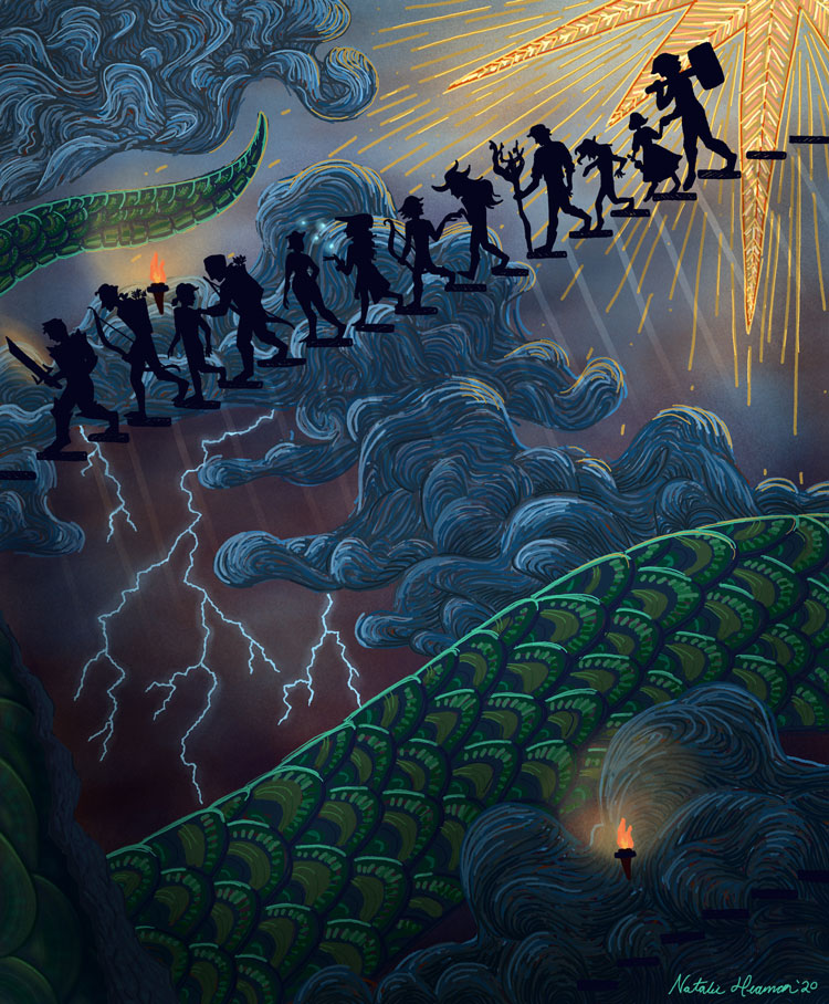 Illustration shows silhouetted figures descending a staircase. On the wall behind them is an elaborate painting. Near the top of the stairs it shows a sun, which leads to clouds and lightning. Below that are the scales of a large snake.