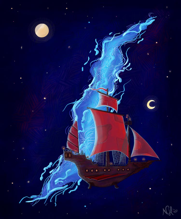 Illustration of a vessel that resembles a pirate ship flying in the night sky. The sky is dark blue with stars and two moons. In the sky there is also a big tear that potentially leads to another worlds.