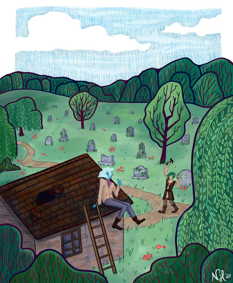 Digital illustration showing two people surrounded by green trees and other foliage. One person sit on the roof of a shed; the roof has a hole. The other figure walks over to the shed, waving and holding up a hammer to fix the roof with.