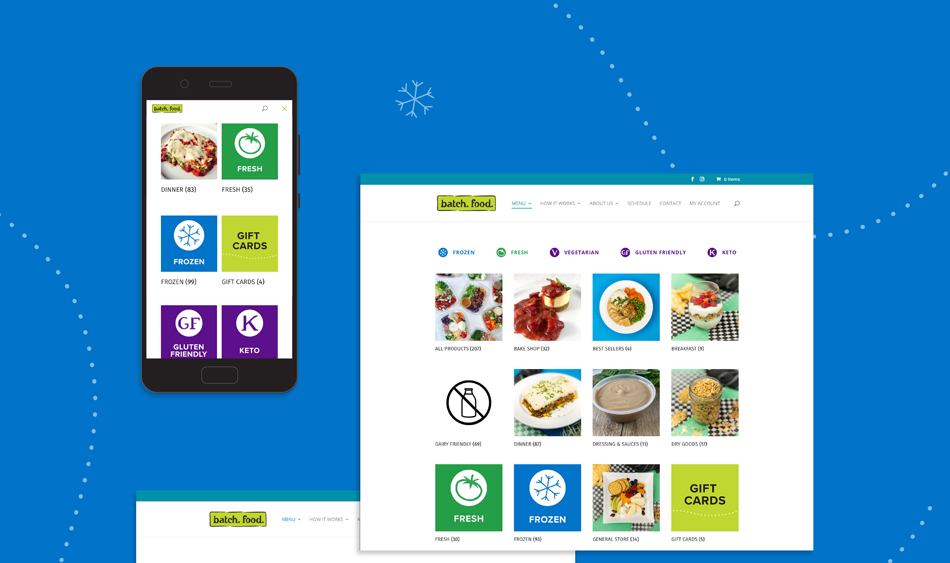 """A mobile phone and a desktop screenshot of the Batch website, showing how icons for """"Frozen"""", """"Fresh"""" and special diets like """"Vegetarian are used on different web pages. These images sit on a blue background."""