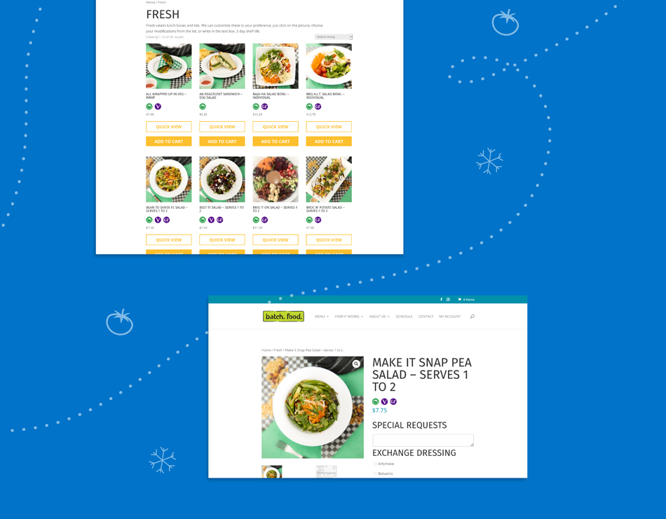 """Two screenshots of the Batch website, showing how icons for """"Frozen"""", """"Fresh"""" and special diets like """"Vegetarian are used on different web pages. These screenshots show a general menu page and a page for a specific food item. The screenshots sit on a blue background."""