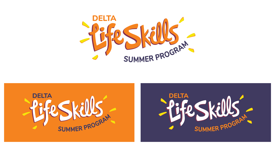 Image shows the new Delta Life Skills logo, including the primary logo and alternatives for darker backgrounds.