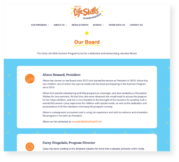 Image of a screenshot (from a desktop computer) of the Delta Life Skills website Our Board page.