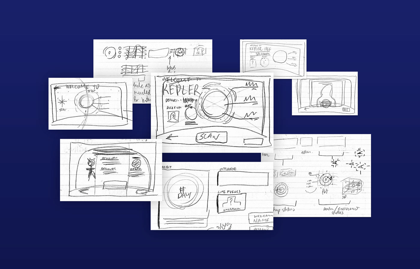 A pencil sketched layout from the UI design process, exploring a possible layout for the content.