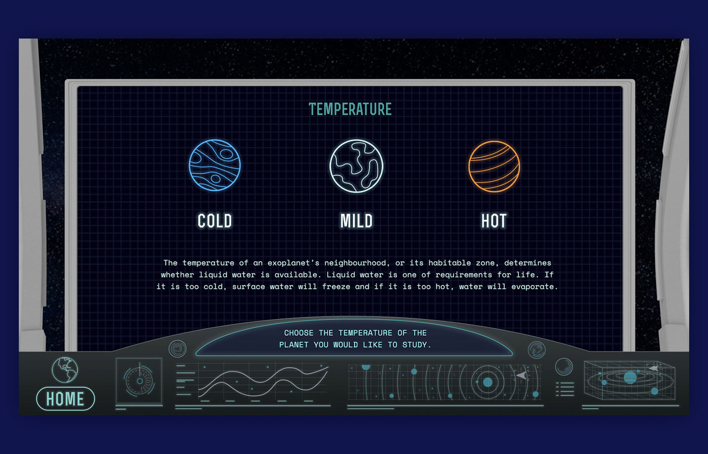 A UI design set up so it looks like you are sitting behind the dashboard of a space ship and you are exploring space. The screen give you options to choose between three possible planet destinations.