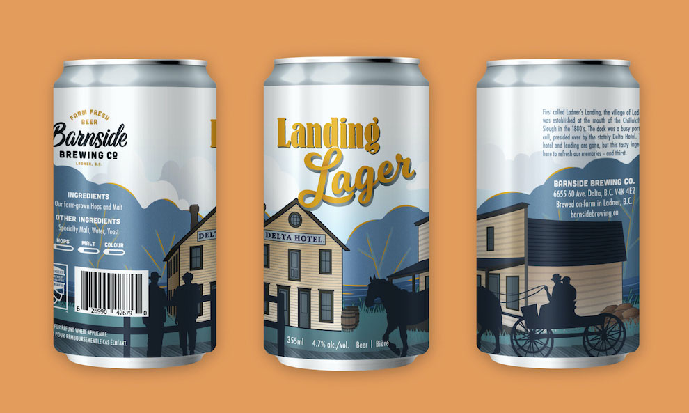Image of three cans of Barnside Brewing Co's Landing Lager beer label. Each can depicts the label at a different angle, so all parts of the design are displayed. The label includes illustrations of old buildings, with a river and trees in the background.