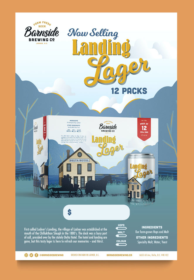 Image of a poster announcing Barnside Brewing Co.'s new Landing Lager beer. The poster sits on an orange background.