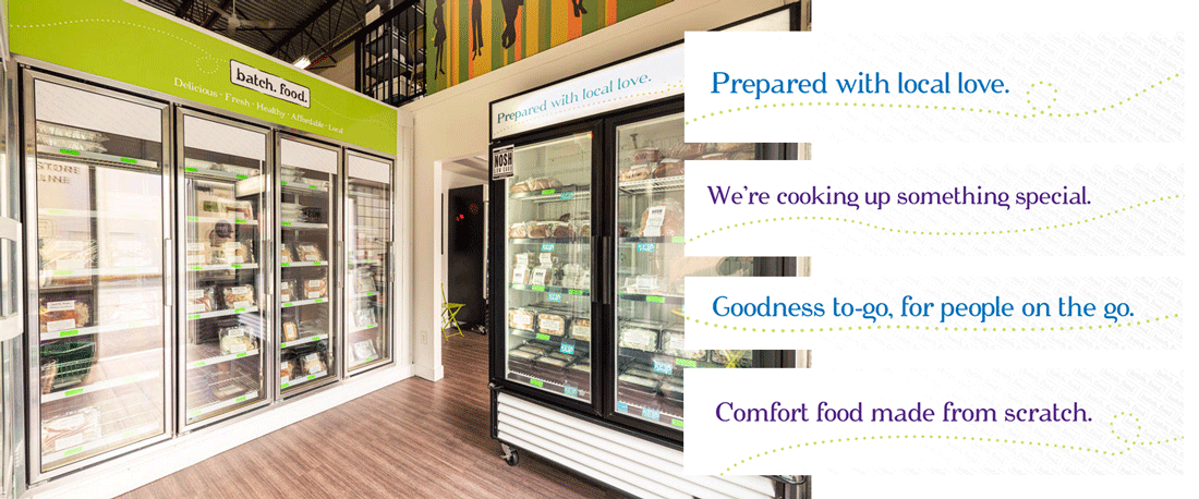Photo of the inside of the Batch store. In the photo two freezers can be seen, full of pre-prepared frozen meals. Above the freezers are newly install fascias that promote Batch.