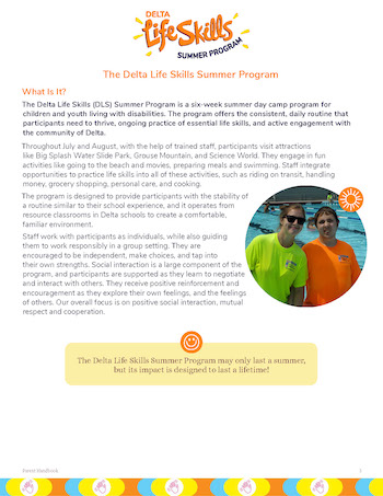 Image shows a page of the Delta Life Skills Parent Handbook.