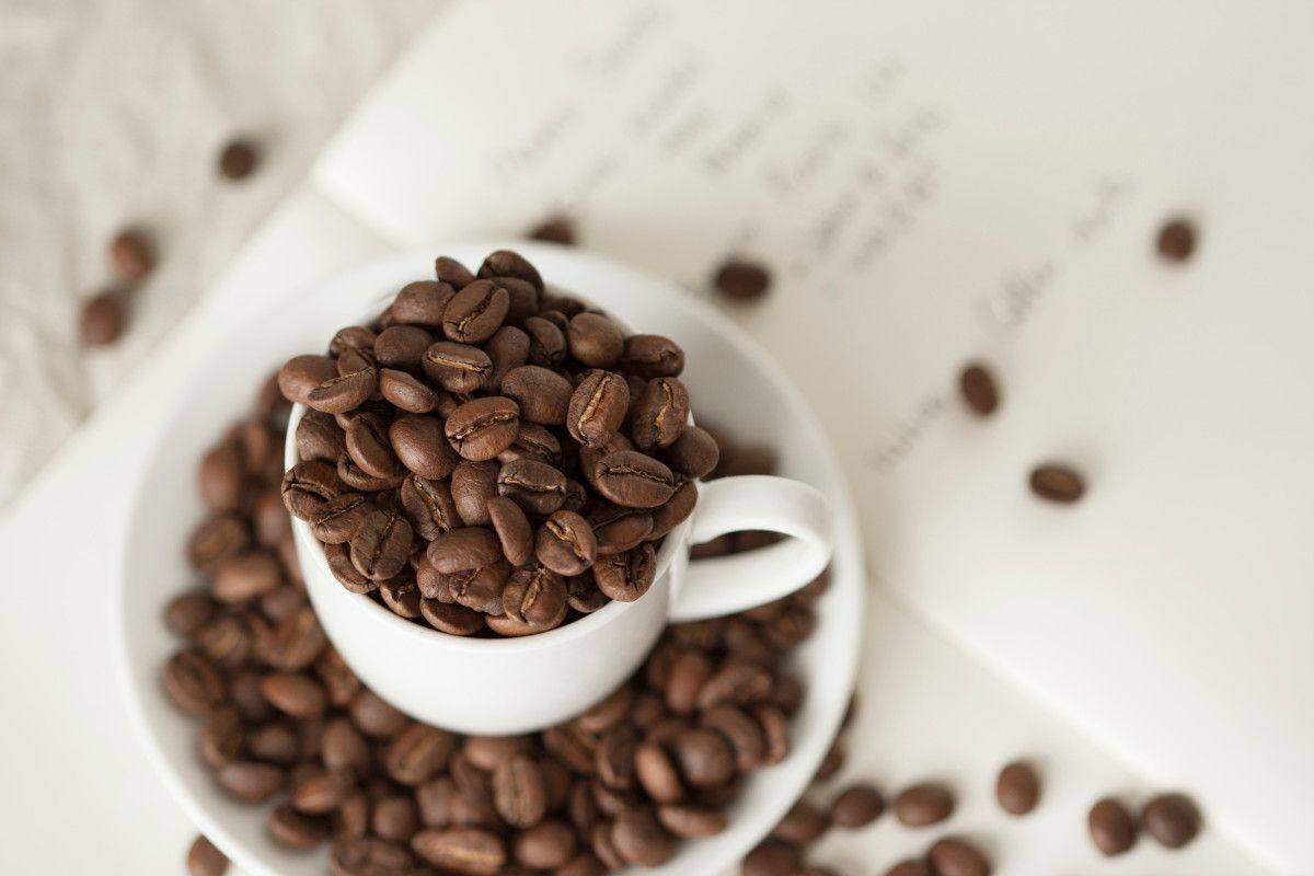 granos de café dentro de una taza
