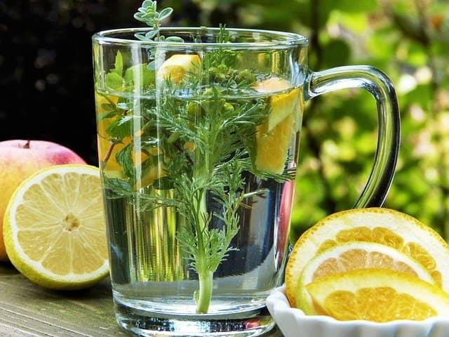 infusión con limón y hierbas
