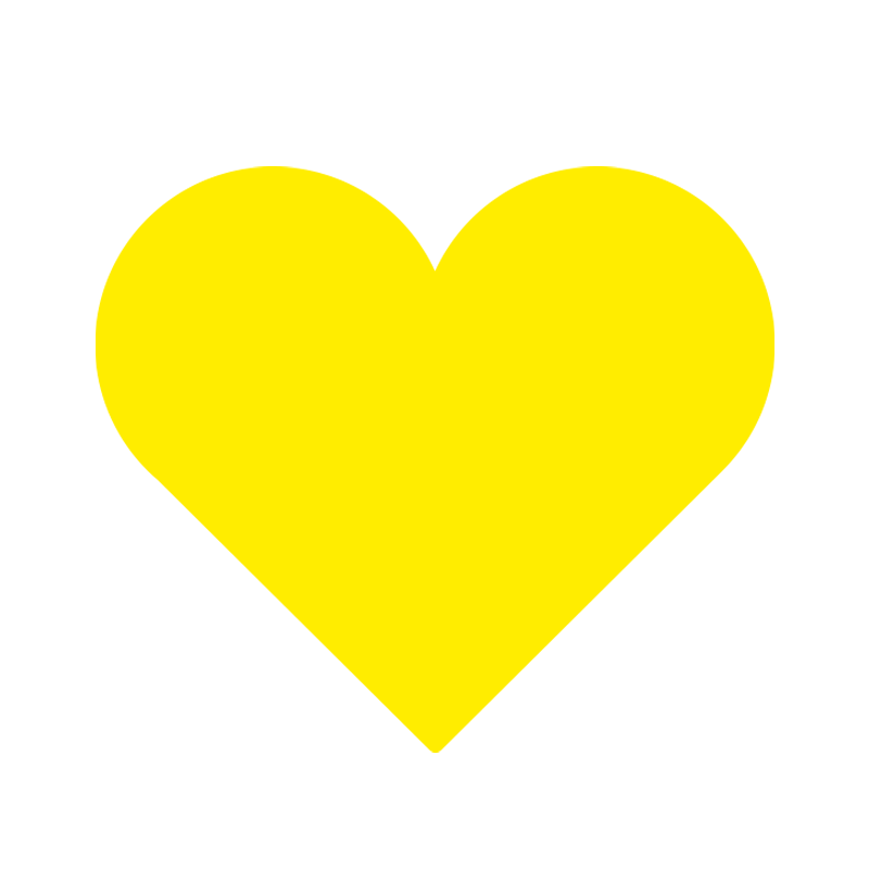 Yellow love heart icon