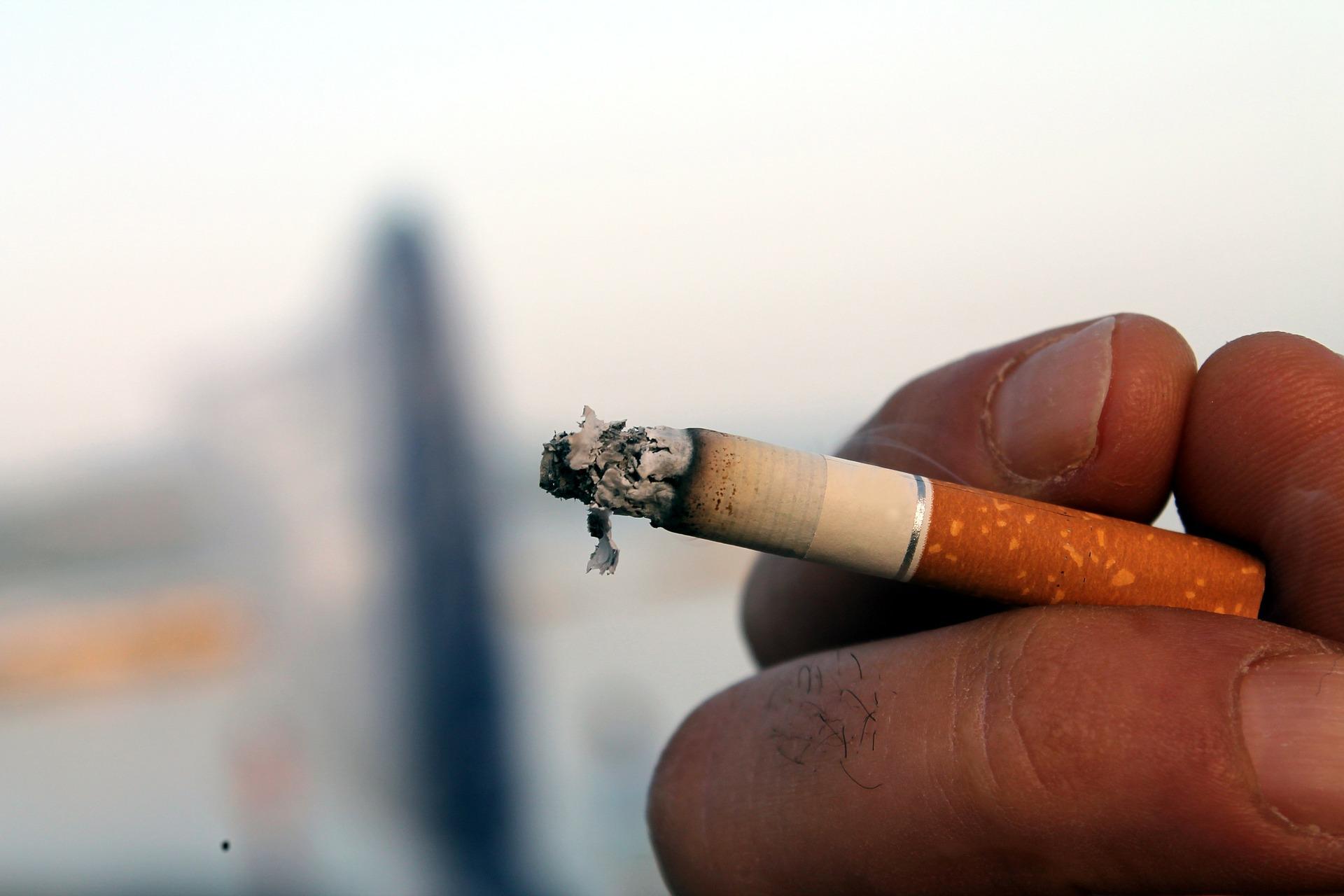 cigarette burning in user's hand