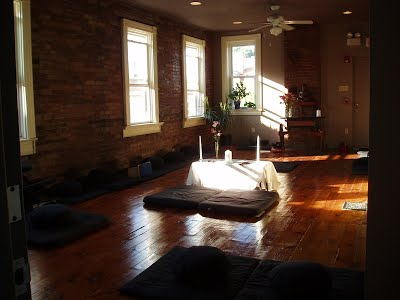 Meditation cushions and Altar at Stillpoint