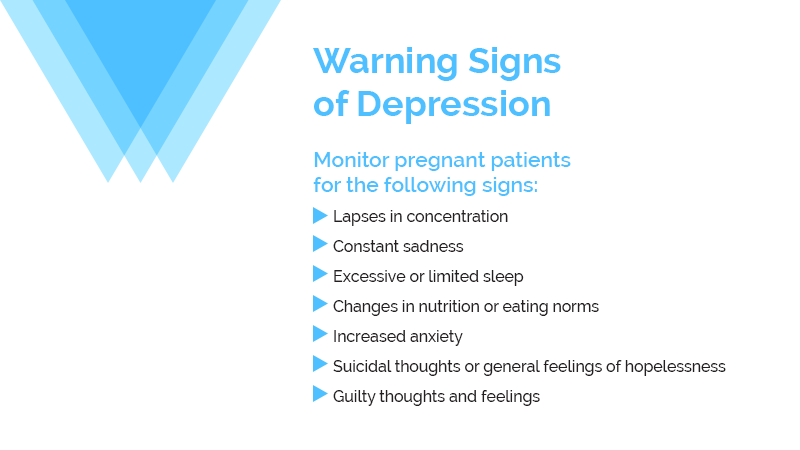 Warning signs of depression during pregnancy.