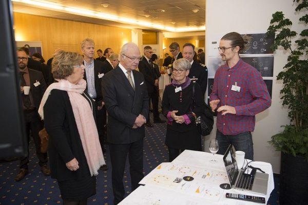 From the left, Magdalena Andersson, The Swedish King Carl XVI Gustaf; Monica Stridsman and Lukas Flynn. Photo: Patrik Trädgårdh