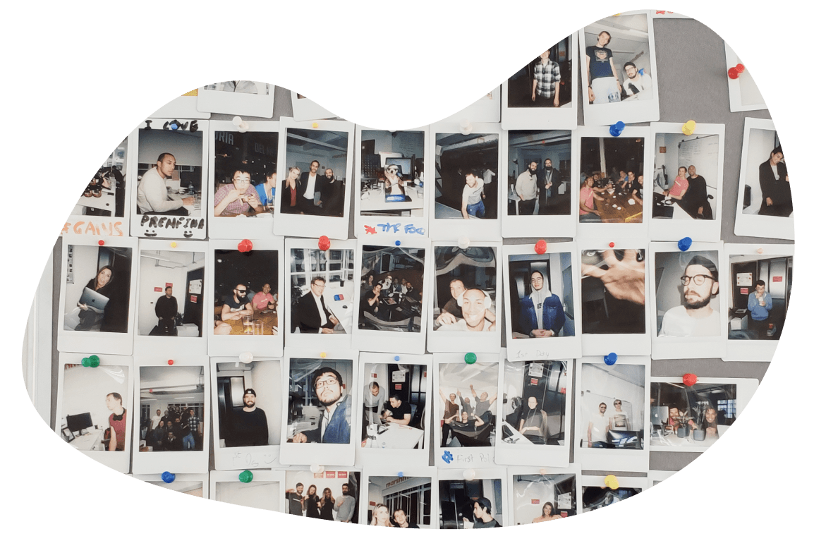 Polaroid photos of the Marshmallow team having fun