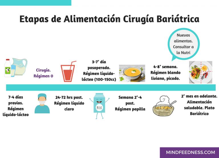 Etapas de la alimentación en la cirugía bariátrica: Régimen líquido lácteo 7-4 días previos a la cirugía bariátrica; Régimen líquido claro y lácteo 24h-7días después de la cirugía bariátrica; Régimen papilla 2-4 semana postoperatorio; Régimen blando, picado liviano 4-8 semanas postoperatorio; Alimentación saludable, plato bariátrico 2º mes en adelante.